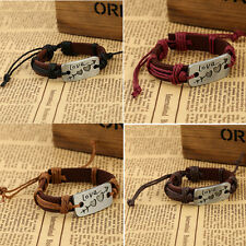 Unisex Men's Leather Bangle Wristband Punk Wrap Fashion Bracelet Jewelry Cuff