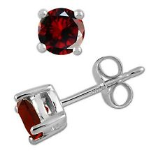 925 Sterling Pure Solid Silver Stud with Natural Red Garnet Round Cut Earring