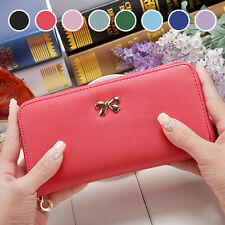 Lady Women Long Card Holder Case Leather Zip Around Clutch Wallet Purse Handbag