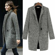 Womens Lapel Wool Cashmere Coat Ladies Trench Jacket Long Parka Outwear UK 6-16