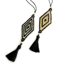 Seed bead pendant necklace   diamond pattern   black gold silver   Holley Day