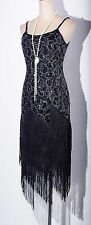1920's Flapper Gatsby Sequin&Tassel Size S-6XL Black Dress MMS DRESS_4036_k
