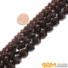 "Natural Smoky Quartz Crystal Faceted Polygonal Beads Strand 15""6mm 8mm 10mm 12mm"