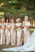 Bridesmaid Dresses Sequined Short Sleeve Long Prom Wedding Party Gowns W1686