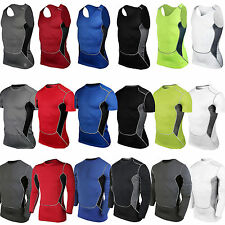 Mens Compression T-shirts Under Shirt Base Layer Skins Armour Vest Tee Tank Top