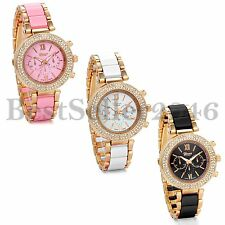 Luxury  Rhinestone Dial Stainless Steel Band Quartz Wrist Watch Women's Watches