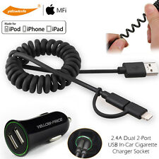 Coiled Spring Charge&Sync Cable For Android iPhone + Dual USB 2-Port Car Charger