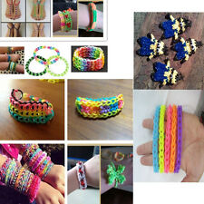 Tie Dye Rainbow Rubber Bands Loom Refill S Button DIY Bracelet Anklet Set #JC