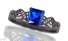 14k Black Gold Plated Infinity Celtic Princess Blue Sapphire w CZ Silver Ring