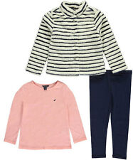 "Nautica Little Girls' Toddler ""Shaggy Stripe"" 3-Piece Outfit (Sizes 2T - 4T)"