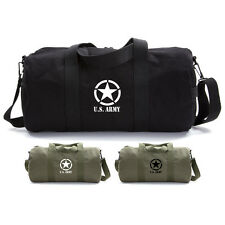 Army Force Gear WW2 US Invading Star Canvas Military Duffle Bag Sport Gym Duffel
