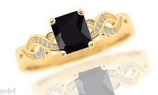 14k Yellow Gold Plated Infinity Celtic Princess Black Onyx CZ w CZ Silver Ring