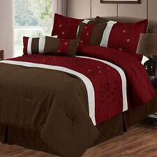 NEW Queen King Bed 7 pc White Red Brown Embroidered Floral Comforter Set Elegant