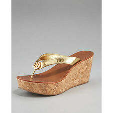 Tory Burch Women's Thora Gold Patent Leather Wedge Flip-Flop Gold Logo