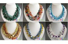"D0139  4~5row 18"" rice biwa pearl jade faceted crystal NECKLACE"