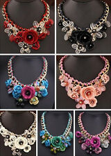 Collar Chunky Crystal Statement Pendant Jewelry Flower Necklace Choker Hot