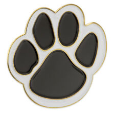 PinMart's Black and White Animal Paw Print School Mascot Enamel Lapel Pin