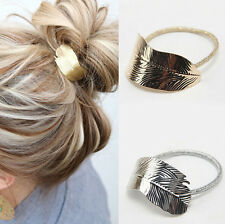 Ponytail Lady Women Headband Elastic Leaf 2Pcs Hair Band Rope Accessories Holder
