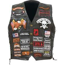 Mens Black Leather Motorcycle Biker Vest With Patches