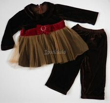 NEW Greggy Girl Chocolate Cherry 2pc Outfit Set Holiday Tulle 2T 3T 4T NWT