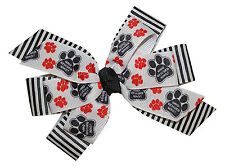 New Girls Who Rescued Who Dog Paw Print Animal Rescue Alligator Clip Hair Bow