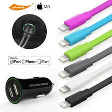 For iPhone 7 6 iPod Car Charger 2.4A Dual USB Adapter&Apple Charging Cable 2m 1m