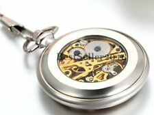 Retro Transparent Cover Skeleton Steampunk Hand-winding Mechanical Pocket Watch