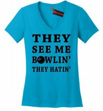 See Me Bowlin They Hatin Funny Bowling Ladies V-Neck T Shirt League Gift Tee Z5