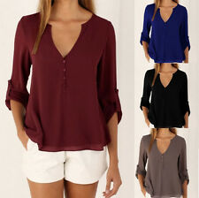 Summer Chiffon V-neck Long sleeves Women Tops Loose Hot Tee Shirt Casual Blouse