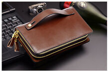 Men Real Genuine Leather Double Zipper Wallet Business Phone Holder Clutch Purse