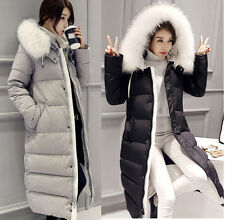 New Winter Warm Womens Faux Fur Collar Cotton Hoody Thicken Jacket Trench Coats