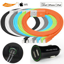 Dual Port USB Car Charger Adapter for iPhone 7&Android w/ Apple Lightning Cable