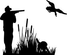 Hunter Targeting Ducks/Geese Over Cattails Decal Vinyl Sticker