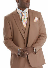 Steven Land Classic Fit Solid Brown One Button Three Piece Suit With Peak Lapels