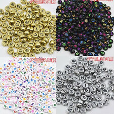 100PCS Jewelry Beads Cube Making Random Alphabet Loose Spacer Letter DIY Acrylic