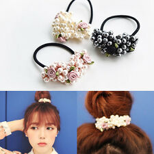 Womens Pearls Hair Band Elastic Crystal Flower Bead Rope Elegant Ponytail Holder