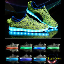 Mens Women Outdoor Sport LED Light UP Canvas Casual Sneakers Athletic Knit Shoes