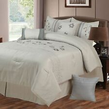 NEW Queen King Bed 7 pc White Blue Gray Grey Embroidered Floral Comforter Set