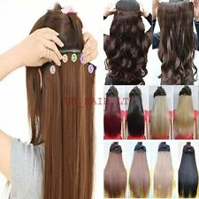 Us Fashion New Straight/Curly/Wavy Clip In Hair Extensions One Piece 5 Clips AMS