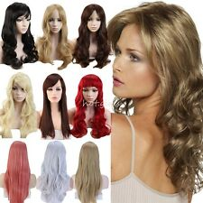 UK Wig Long Brown Black Blonde Straight Curly Synthetic Hair Full Wigs Bangs #W6