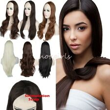 One Piece Women Half Wig 3/4 Full Head Hair Wigs Natural Straight Curly Wavy UK