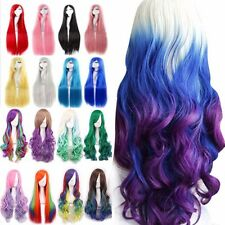 Rainbow Cosplay Wigs Long Natural Straight Curly Wavy Hair Wig Fancy Dress #O12
