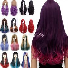 Cosplay Wigs Pink Blue Black Red Purple Mix Ombre Long Wavy Straight Full Wig BK