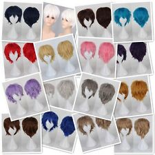 Popular Anime Wigs Short Straight Hair Cosplay Costume Full Head Wig With Bangs