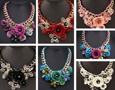 Statement Crystal Flower Necklace Choker Pendant Jewelry Fashion Collar Chunky