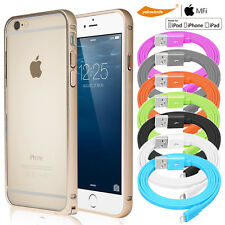Luxury Metal Bumper Frame Case Cover iPhone+MFI Lightning Cable/Tempered Glass