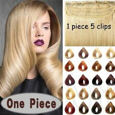 One Piece Brown  Black Blonde Wine Red Clip In Remy Human Hair ExtensionsUSMX388