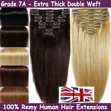 UK TOP Standard Double Weft 160G clip in Remy Human Hair Extensions Full Head