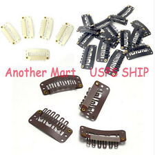 US Ship Snap Clip For Hair Extensions Black Brown Blonde 10/20/30/50pcs Weft TT4