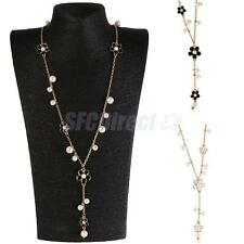 White Black Floral Faux Pearl Pendant Long Necklace Sweater Chain Women Jewelry